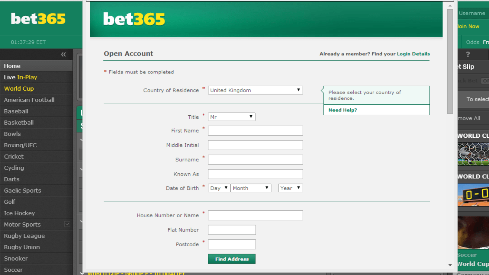 bet365 account free